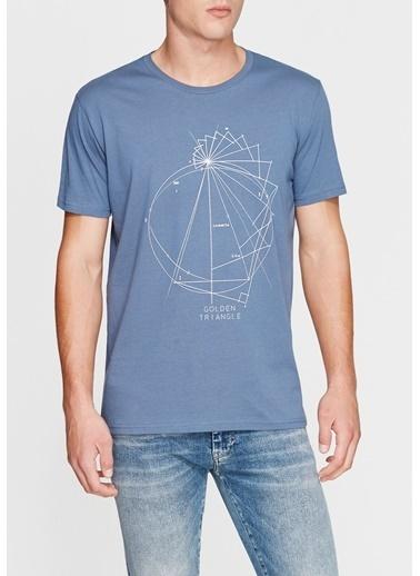 Mavi Baskılı Tişört İndigo